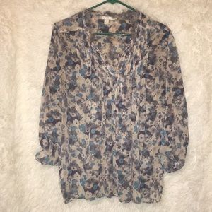 💙🤍Lauren Conrad Floral, Sheer Blouse